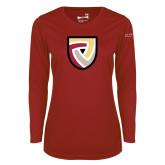 Ladies Syntrel Performance Cardinal Longsleeve Shirt-Clinton Shield Logo