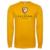 Gold Long Sleeve T Shirt-Clinton Stacked Logo