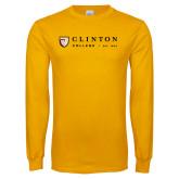 Gold Long Sleeve T Shirt-Clinton Horizontal Logo