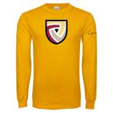 Gold Long Sleeve T Shirt-Clinton Shield Logo