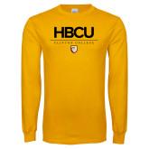 Gold Long Sleeve T Shirt-HBCU Clinton College