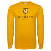 Gold Long Sleeve T Shirt-Clinton Stacked Distressed