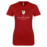 Next Level Ladies SoftStyle Junior Fitted Cardinal Tee-Clinton Stacked Logo
