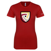 Next Level Ladies SoftStyle Junior Fitted Cardinal Tee-Clinton Shield Logo