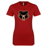 Next Level Ladies SoftStyle Junior Fitted Cardinal Tee-Clinton Bear Logo