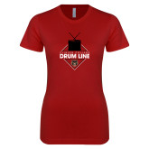 Next Level Ladies SoftStyle Junior Fitted Cardinal Tee-Drum Line