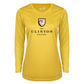 Ladies Syntrel Performance Gold Longsleeve Shirt-Clinton Stacked Logo