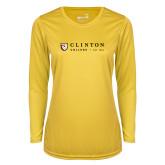 Ladies Syntrel Performance Gold Longsleeve Shirt-Clinton Horizontal Logo