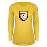 Ladies Syntrel Performance Gold Longsleeve Shirt-Clinton Shield Logo
