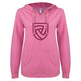 ENZA Ladies Hot Pink V Notch Raw Edge Fleece Hoodie-Shield Hot Pink Glitter