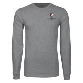 Grey Long Sleeve T Shirt-Clinton Stacked Logo