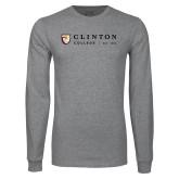Grey Long Sleeve T Shirt-Clinton Horizontal Logo