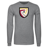 Grey Long Sleeve T Shirt-Clinton Shield Logo