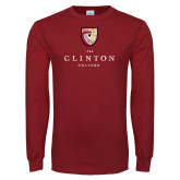 Cardinal Long Sleeve T Shirt-Clinton Stacked Distressed
