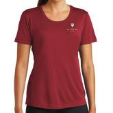 Ladies Syntrel Performance Cardinal Tee-Clinton Stacked Logo