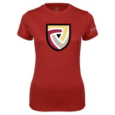 Ladies Syntrel Performance Cardinal Tee-Clinton Shield Logo