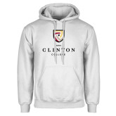 White Fleece Hoodie-Clinton Stacked Logo