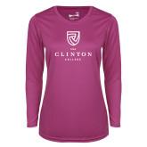 Ladies Syntrel Performance Raspberry Longsleeve Shirt-Clinton Stacked Logo