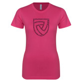 Next Level Ladies SoftStyle Junior Fitted Fuchsia Tee-Shield Hot Pink Glitter