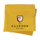 Gold Sweatshirt Blanket-Clinton Stacked Logo
