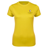 Ladies Syntrel Performance Gold Tee-Clinton Stacked Logo