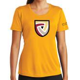 Ladies Syntrel Performance Gold Tee-Clinton Shield Logo
