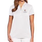 Ladies Callaway Tulip Sleeve White Zip Polo-Clinton Stacked Logo