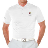 Callaway Opti Vent White Polo-Clinton Stacked Logo
