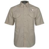 Khaki Short Sleeve Performance Fishing Shirt-Clinton Stacked Logo