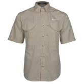 Khaki Short Sleeve Performance Fishing Shirt-Clinton Horizontal Logo