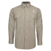 Khaki Long Sleeve Performance Fishing Shirt-Clinton Stacked Logo