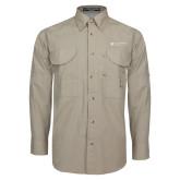 Khaki Long Sleeve Performance Fishing Shirt-Clinton Horizontal Logo