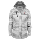 Ladies White Brushstroke Print Insulated Jacket-Clinton Stacked Logo