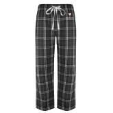 Black/Grey Flannel Pajama Pant-Clinton Stacked Logo