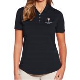Ladies Callaway Horizontal Textured Black Polo-Clinton Stacked Logo