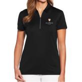 Ladies Callaway Tulip Sleeve Black Zip Polo-Clinton Stacked Logo