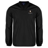 V Neck Black Raglan Windshirt-Clinton Stacked Logo