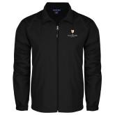 Full Zip Black Wind Jacket-Clinton Stacked Logo