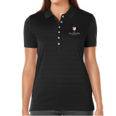 Ladies Callaway Opti Vent Black Polo-Clinton Stacked Logo