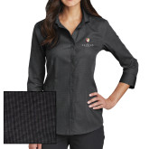 Ladies Red House Black 3/4 Sleeve Shirt-Clinton Stacked Logo