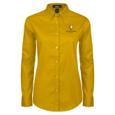 Ladies Gold Twill Button Down Long Sleeve-Clinton Stacked Logo