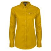 Ladies Gold Twill Button Down Long Sleeve-Clinton Horizontal Logo