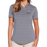 Ladies Callaway Horizontal Textured Steel Grey Polo-Clinton Stacked Logo