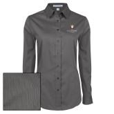 Ladies Grey Tonal Pattern Long Sleeve Shirt-Clinton Stacked Logo