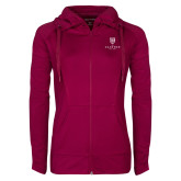 Ladies Sport Wick Stretch Full Zip Deep Berry Jacket-Clinton Stacked Logo