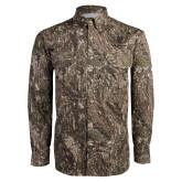 Camo Long Sleeve Performance Fishing Shirt-Clinton Stacked Logo