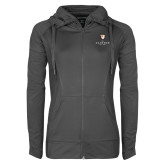 Ladies Sport Wick Stretch Full Zip Charcoal Jacket-Clinton Stacked Logo