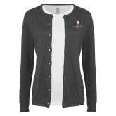 Ladies Charcoal Cardigan-Clinton Stacked Logo