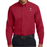 Cardinal Twill Button Down Long Sleeve-Clinton Stacked Logo