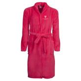 Ladies Pink Raspberry Plush Microfleece Shawl Collar Robe-Clinton Stacked Logo